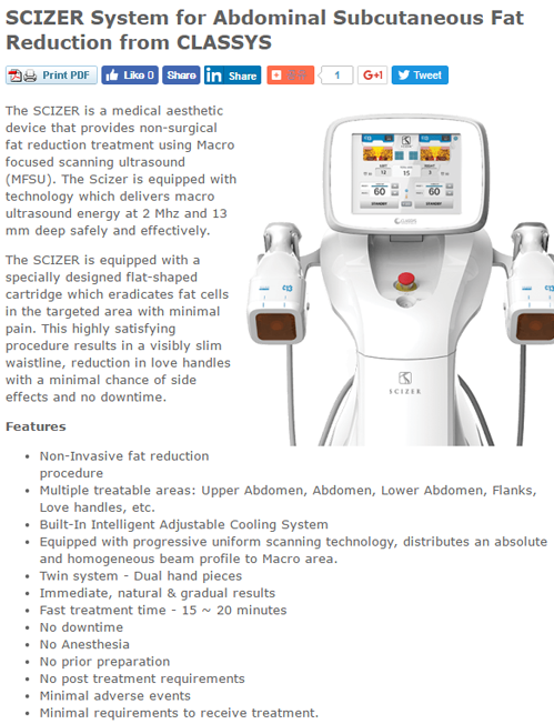 CLASSYS ULTRAFORMER III System for Face Lifting and Body Contouring